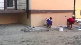 Как кидать барашик компрессором. Фасадные работы.(Фасадные работы, пенопласт., 2014-07-07T12:38:14.000Z)
