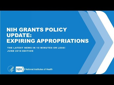 NIH GRANTS POLICY UPDATE: EXPIRING APPROPRIATIONS