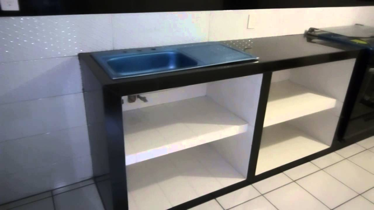 Muebles de cocina 100 concreto y azulejo youtube for Cocinas chiquitas