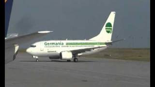 Germania B737 taxing to Gate Leipzig Halle Airport