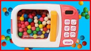 魔法微波爐出奇蛋玩具變寶物,泡泡糖機和 shopkins 驚喜袋