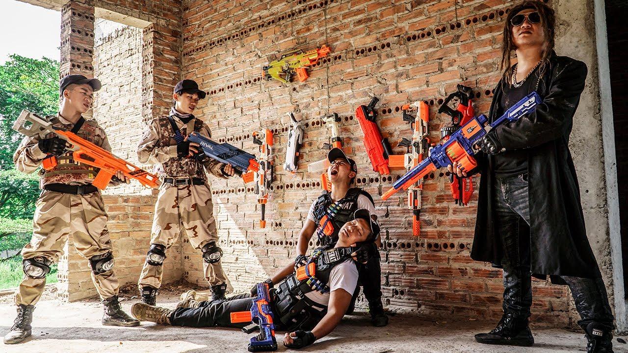 LTT Game Nerf War : Patrol Police Warriors SEAL X Nerf Guns Fight Rocket Crazy Looking Teammates