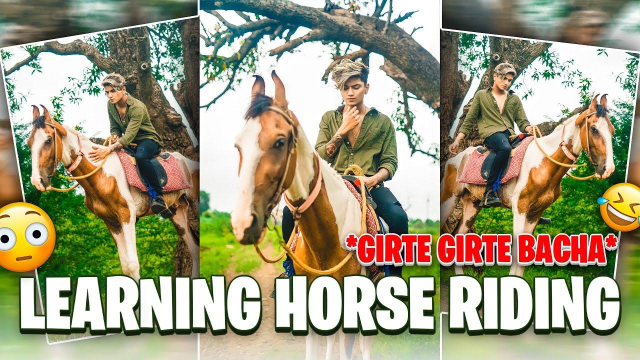 GIRTE GIRTE BACHA😱 | learning horse riding | Tushar silawat