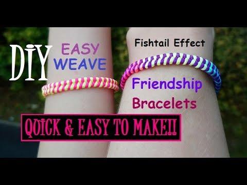 How To Make A Fishtail Effect [Woven Strings] Friendship Bracelet Tutorial