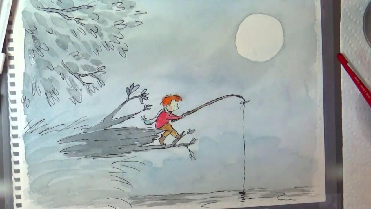 Watercolor books for kids - Paige Keiser Children S Book Illustration Demonstration Night Fishing