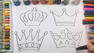 Learn to Draw and Coloring for Kids and Paint Crown Coloring Book Page to Color with Watercolor