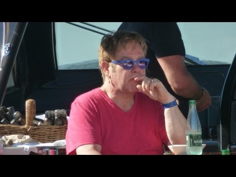 Elton John on his yacht - Saint-Tropez Summer 2013