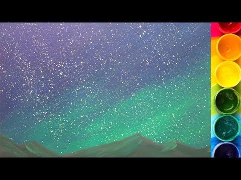 Как нарисовать ночное небо гуашью