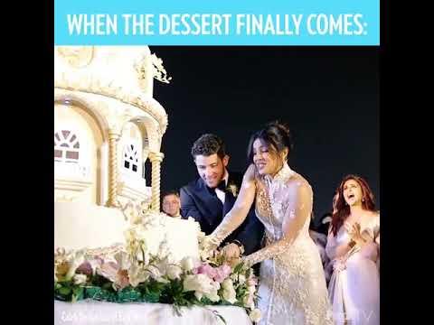 Nick Jonas And Priyanka Chopra Cutting Their Big Wedding Cake Youtube