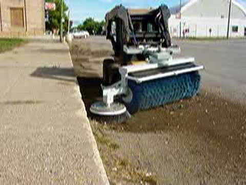 Skid Steer Attachment Cleaning Street Gutters Youtube