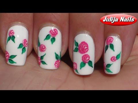 ▶ Маникюр с цветами / Дизайн ногтей Розы