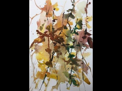 Efterår Eksperimenterne Akvarel Maleri Autumn Experiments Watercolor Painting