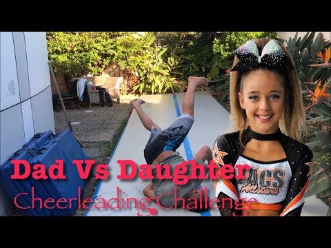 CHEER DAD vs DAUGHTER - AIRTRACK Cheerleading CHALLENGE / Tumbling Gymnastics CHALLENGE