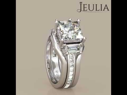 Three Stone Radiant Cut Created White Sapphire Wedding Ring