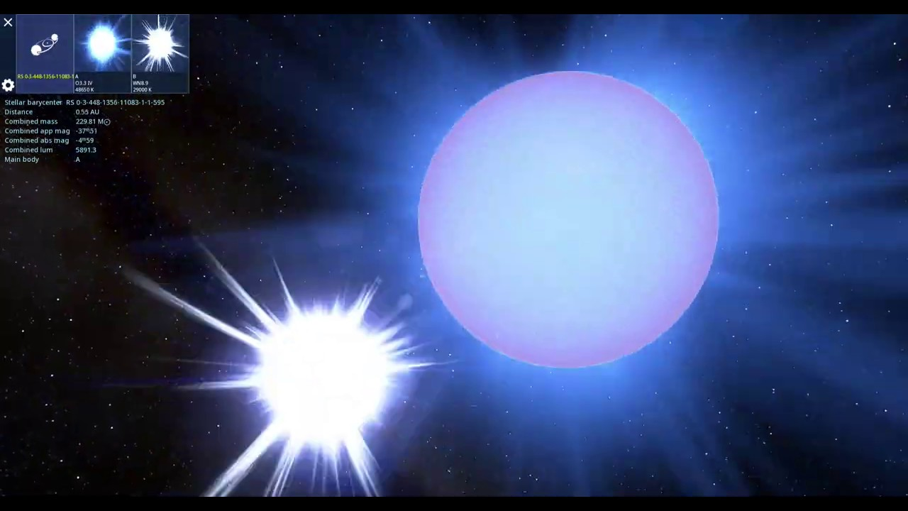 R136a1, a blue star, is 265 times as massive as the sun