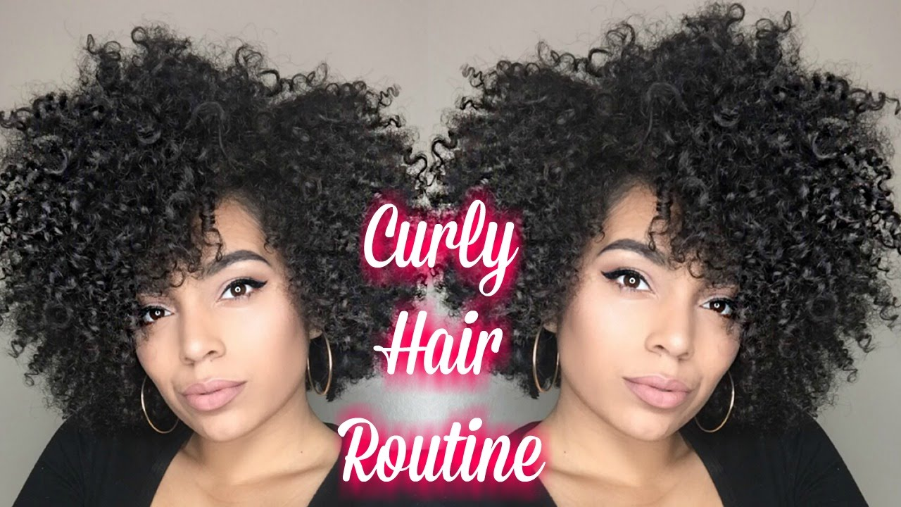 big curly hair routine | wash and go | short medium length hair