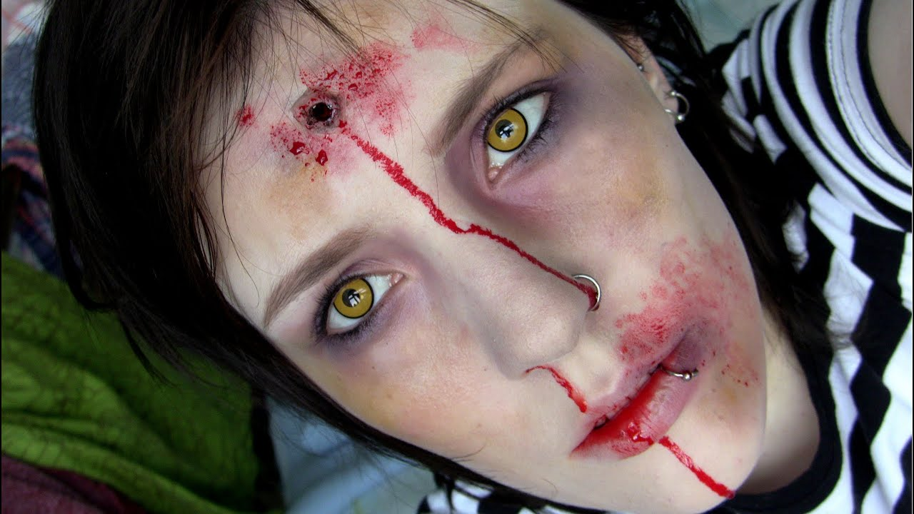 Bullet Wound & Bruised-Up Zombie | Halloween Make-Up Tutorial ...