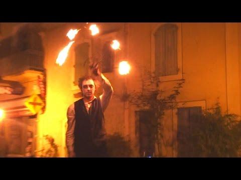 Halloween parade fire eater stilt walkers Occitan band Bassan 31 October 2014
