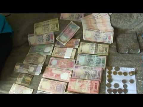 One Lakh (100,000) Indian Rupees; All Denomination  Notes & Coins, India: 1st May 2012