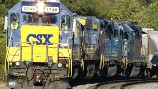 CSX Freight Train With 7 Engines !