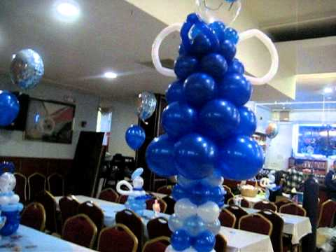 Decoracion con globos bautizo de nino youtube for Decoracion de bombas para bautizo