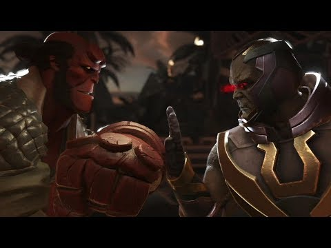 Injustice 2 : Hellboy Vs Darkseid - All Intro/Outros, Clash Dialogues, Super Moves