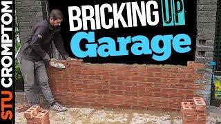 how to brick up garage door opening into window bricklaying job