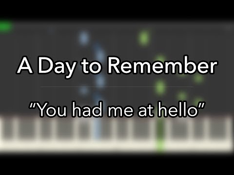 Visual Piano tutorial: A day to remember You had me at hello piano v 2014