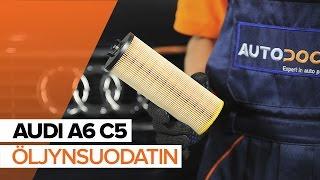 AUDI A6 Öljynsuodatin asentaa : videokäsikirjat