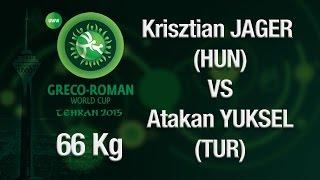 Group B Round 2 - Greco-Roman Wrestling 66 kg - K. JAGER (HUN) vs A. YUKSEL (TUR) - Tehran 2015