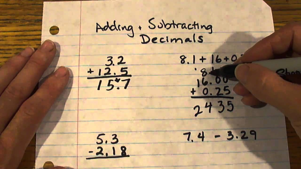 hight resolution of Adding and Subtracting Decimals - 6th grade Math