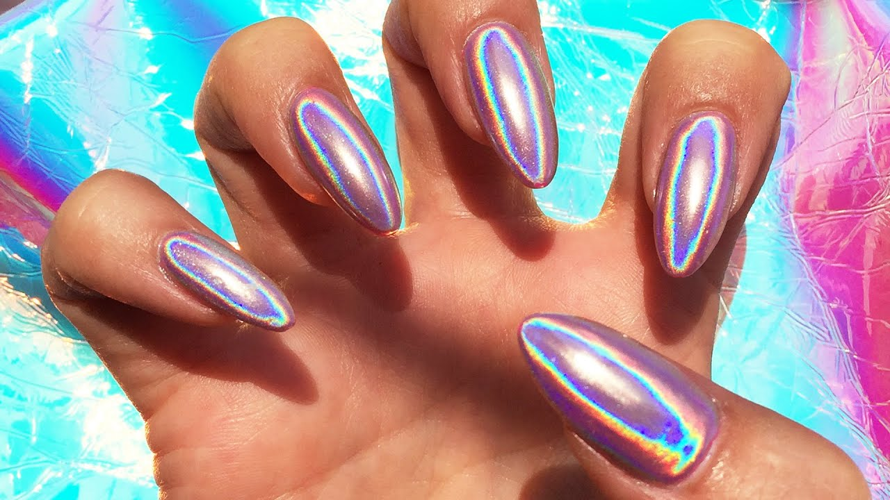HOLOGRAPHIC POWDERED NAILS - YouTube