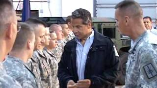 NY Governor Andrew Cuomo Attends Joint Task Force Irene Deployment