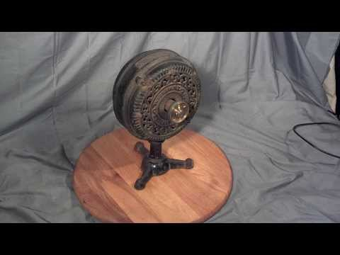 Rare 1894 Antique Ornate Emerson EI-1 Electric Cast Iron Tripod Desk Fan Motor