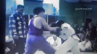 Sparring fight Taekwon-do ITF VS Kickboxing. Archive 1998 year