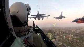 F16 pilot flies in a squadron formation over Amsterdam. See what he sees.