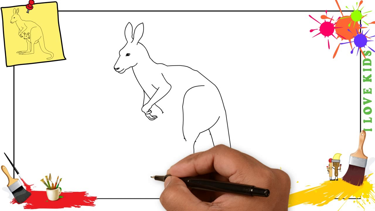 How To Draw A Kangaroo SIMPLE EASY SLOWLY Step By For Kids