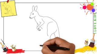 How to draw a kangaroo SIMPLE, EASY & SLOWLY step by step for kids
