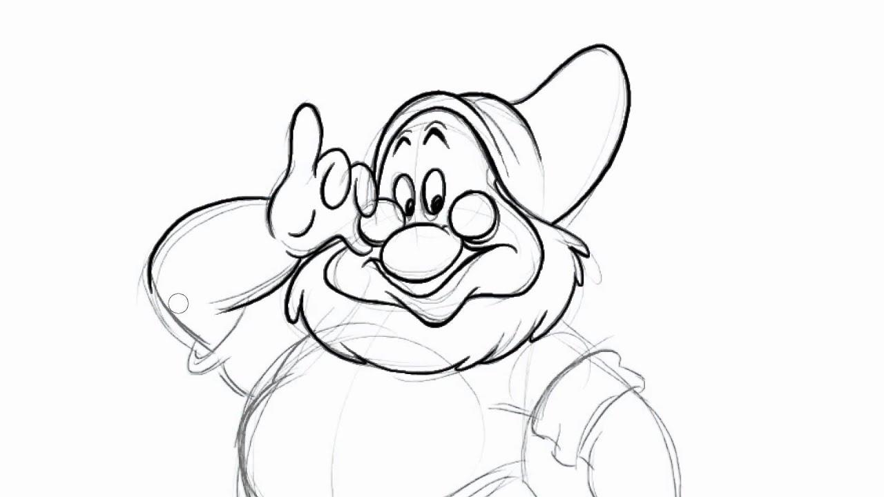 how to draw dwarfs doc in disneys snow white and the seven dwarfs