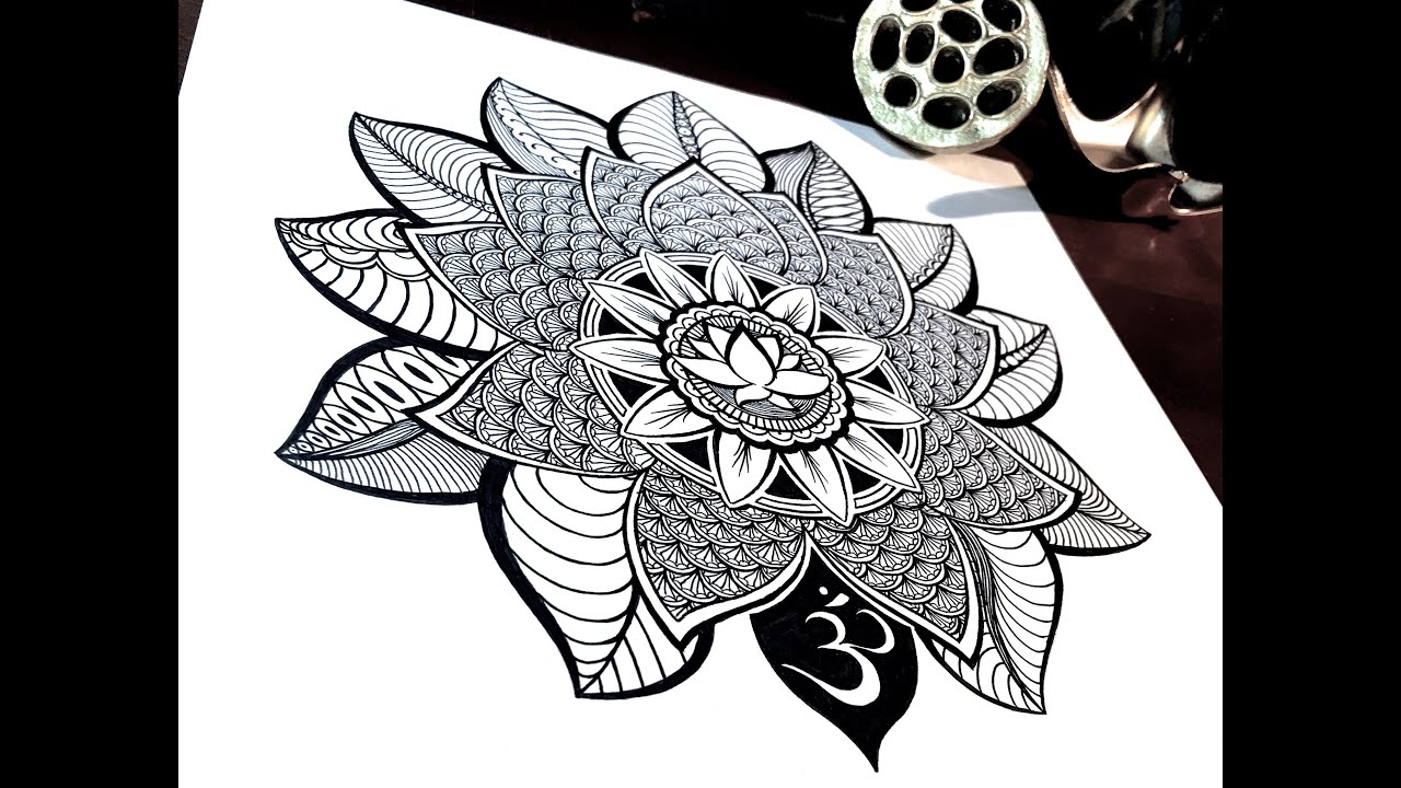 Lotus Mandala Time Lapse Drawing
