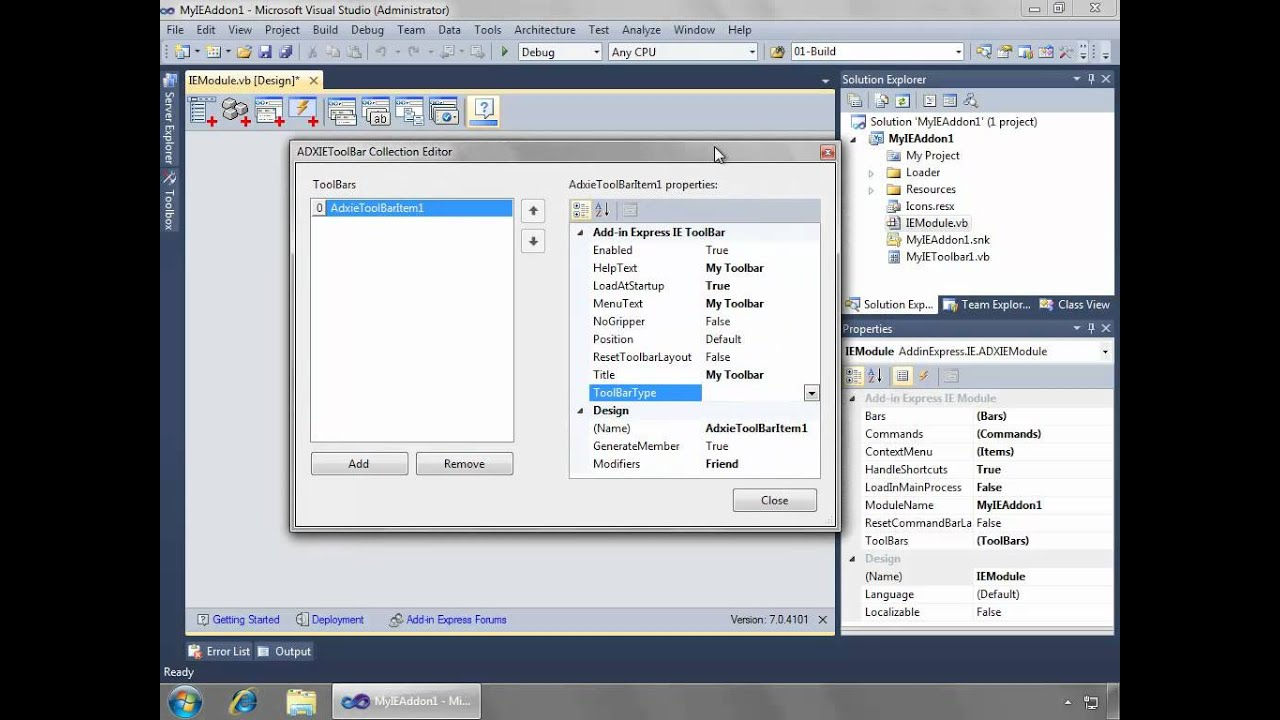Create internet explorer add-on, ie toolbar, context menu: c#, vb.