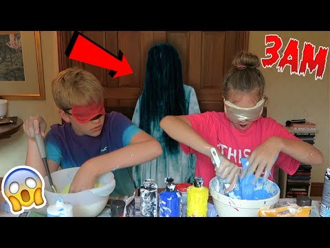 Thumbnail: NEVER MAKE SLIME *BLINDFOLDED* AT 3AM!! OMG SO SCARY!!! *Blindfolded Slime Challenge*