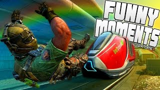 Black Ops 2 Funny Moments - Stopping Train, Care Packages, Elevator Wall, Random Rapper and More!
