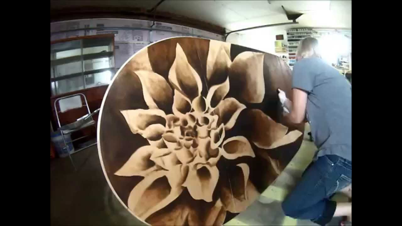 Wood Stain Artwork On Dining Table Top (Dahlia)   YouTube