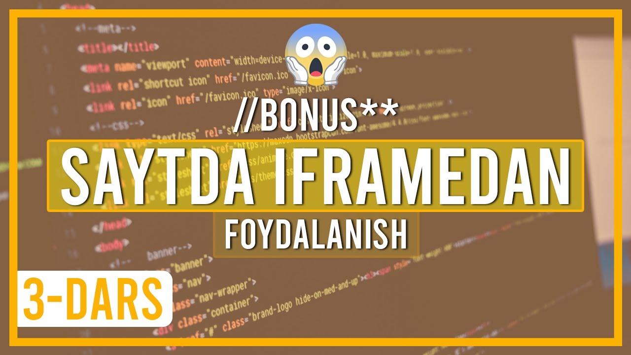 Web sahifada iframe dan foydalanish