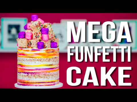 How To Make A MEGA FUNFETTI CAKE! Confetti Vanilla Cake with Sprinkle RICE KRISPIE TREATS!