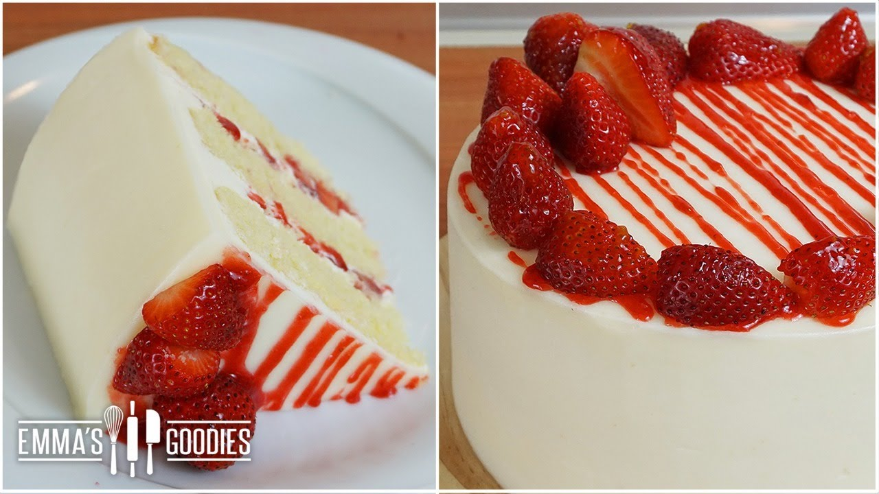 strawberry cake recipe with fresh strawberry filling youtube