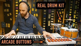 Controlling REAL Drums with Arcade Buttons (Live)