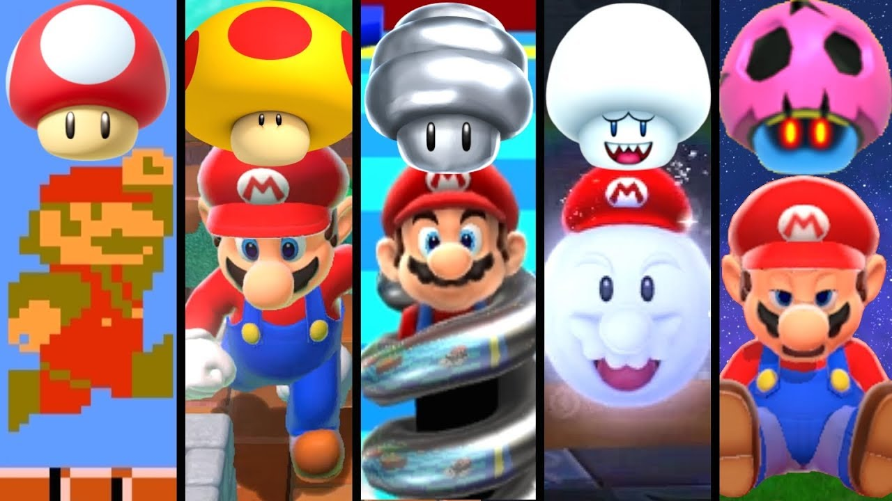 Evolution Of Mushroom Power Ups In Super Mario 1985 2019 Youtube