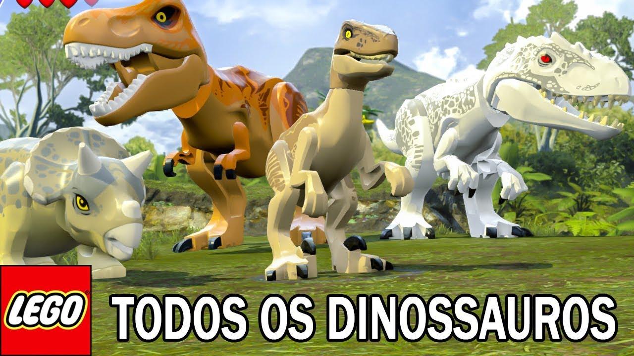 Todos Os Dinossauros Do Lego Jurassic World Youtube